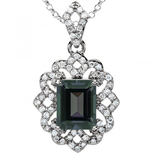 Emerald Cut Genuine Alexandrite Necklace