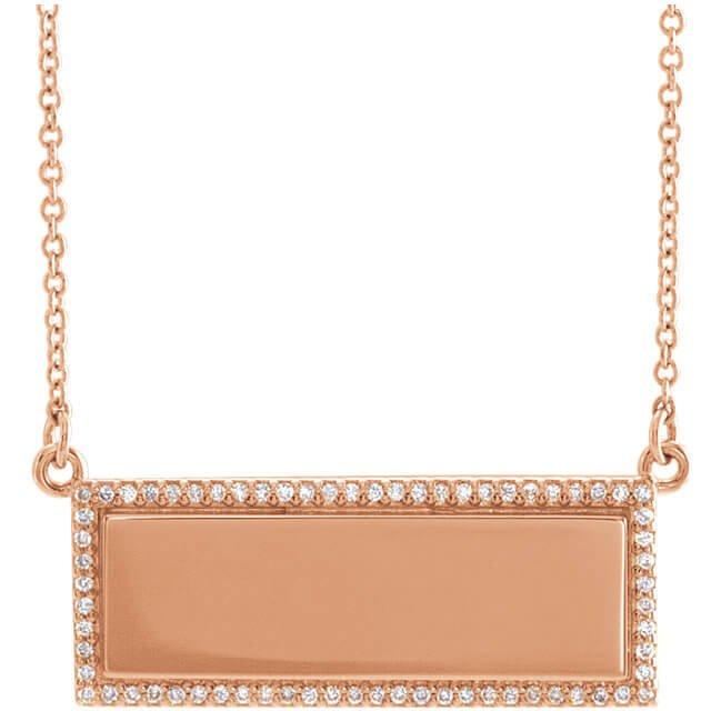 Engravable Diamond Bar Pendant R