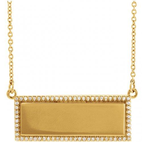 Engravable Diamond Bar Pendant Y