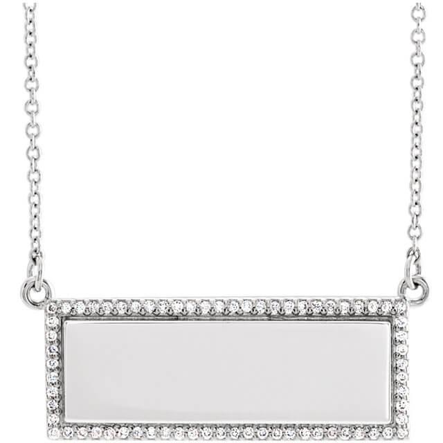 Engravable Diamond Bar Pendant