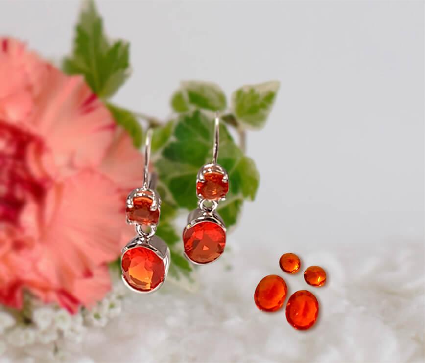 Fire Opal Double Drop Earrings