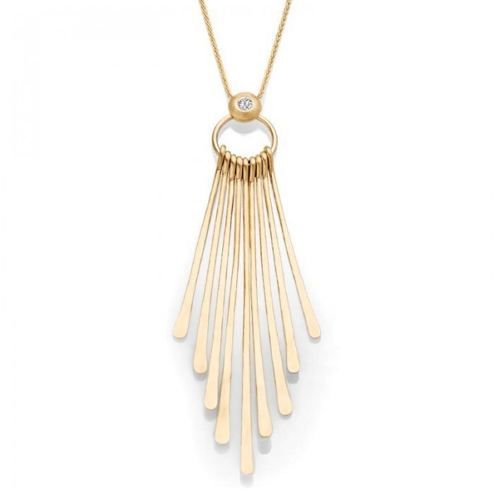 Italian Gold Necklace With Diamond Accent