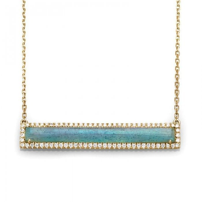 Labradorite Diamond Accent Bar Necklace