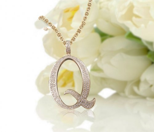 Personalized Diamond Accent Script Initial Necklace - Letter Q