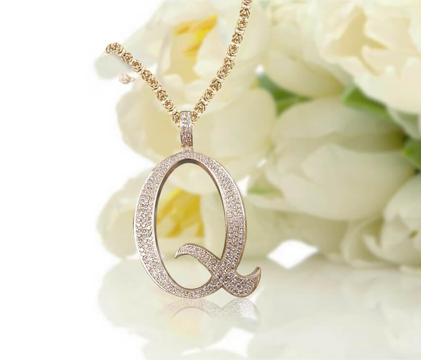 Personalized Diamond Accent Script Initial Necklace - Letter Q
