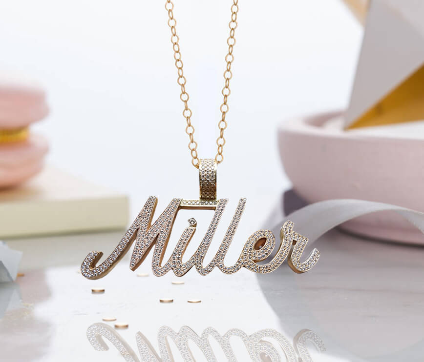 Personalized Script Nameplate Necklace