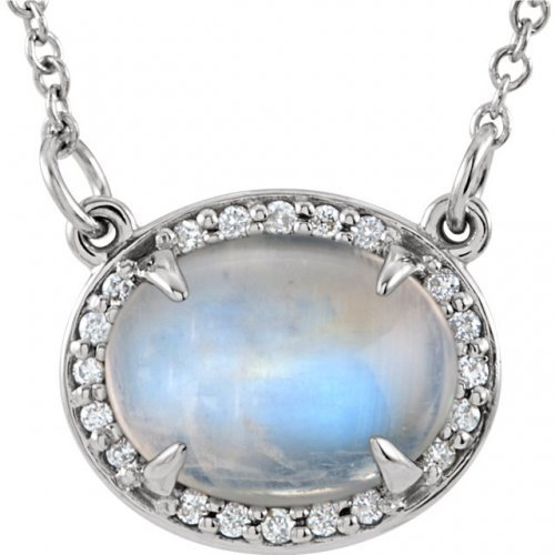 Oval Cabochon AA Rainbow Moonstone Necklace