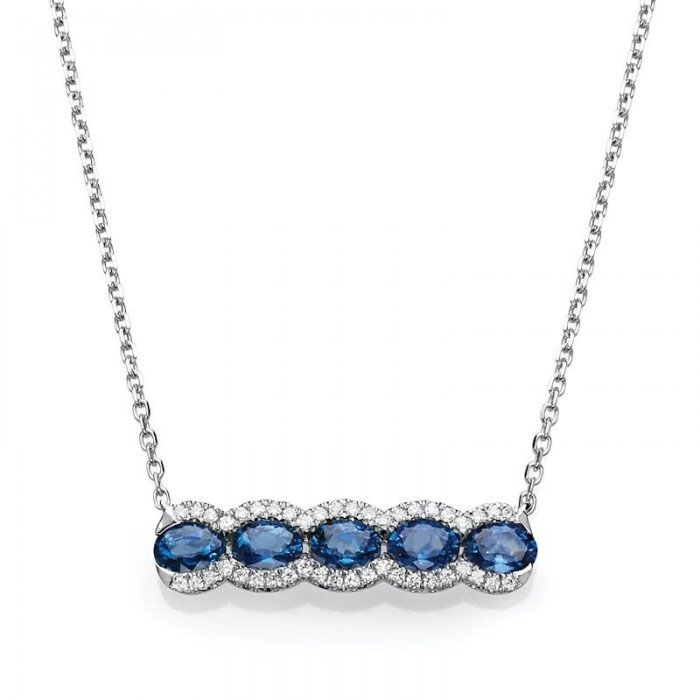 Oval Sapphire Bar Necklace