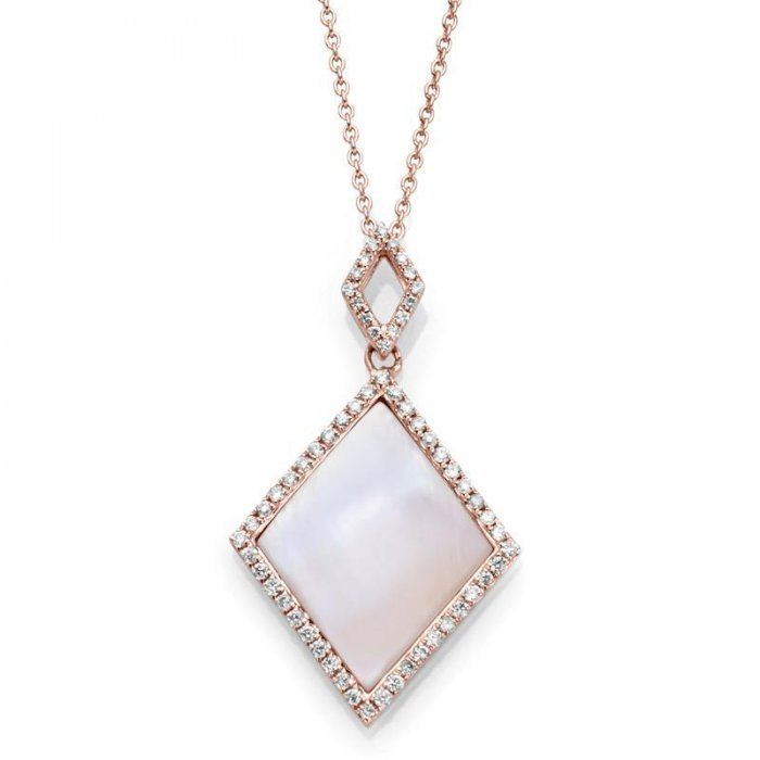 Pink Mother Of Pearl Diamond Accent Necklace