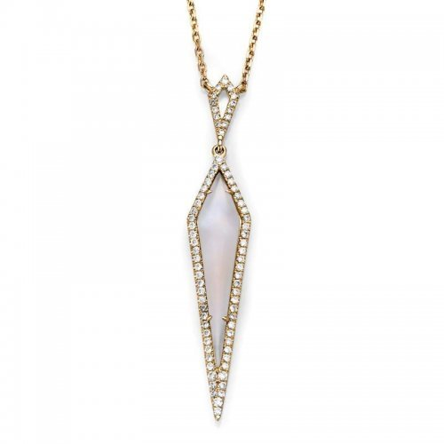 Rhombus Moonstone Diamond Necklace