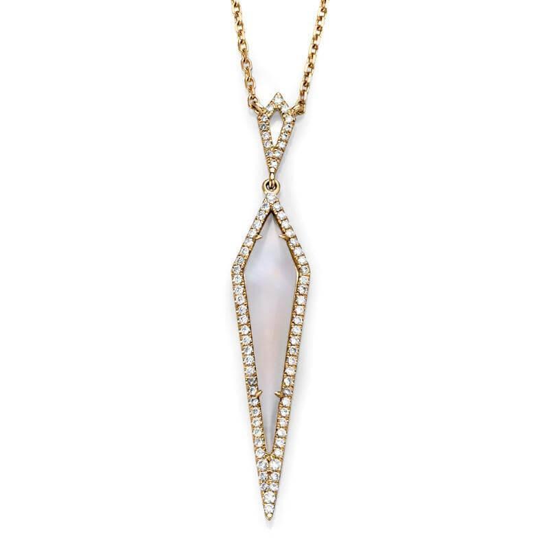 Rhombus Moonstone Diamond Necklace