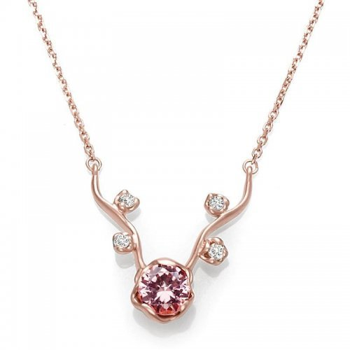 Pink Tourmaline Diamond Necklace