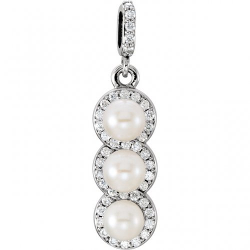 Triple White Freshwater Cultured Pearl Diamond Accent Pendant in Platinum
