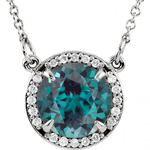 Round Faceted Chatham Created Alexandrite Pendant