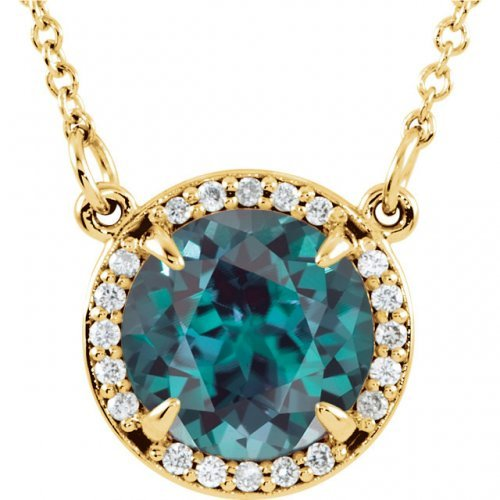 Round Faceted Chatham Created Alexandrite Necklace