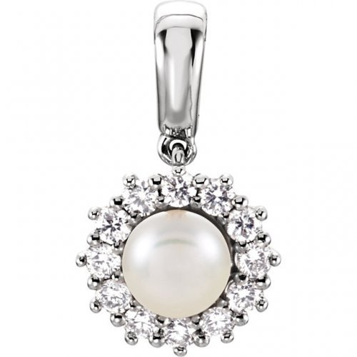 Round Halo Diamond White Pearl Pendant
