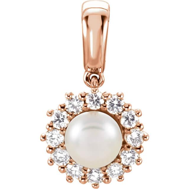Round Halo Diamond White Pearl Pendant R