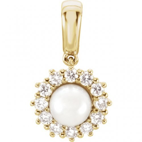 Round Halo Diamond White Pearl Pendant Y