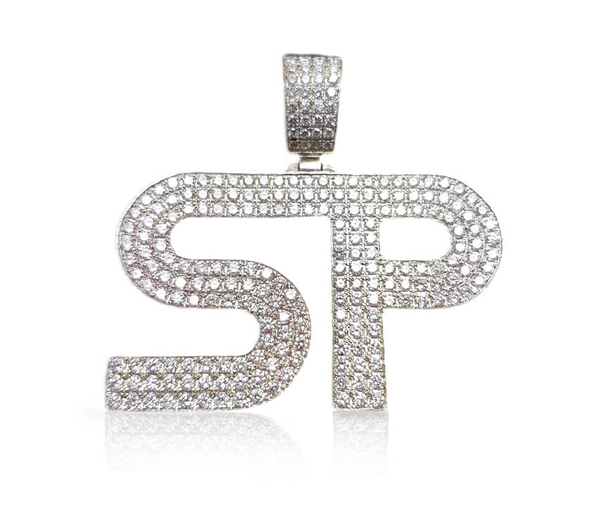 """Buy Personalized Micropave Diamond Pendant Necklace """"SP"""