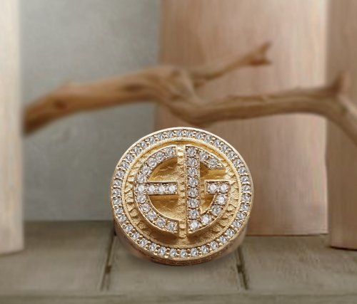 Men's Personalized Diamond Signet Ring