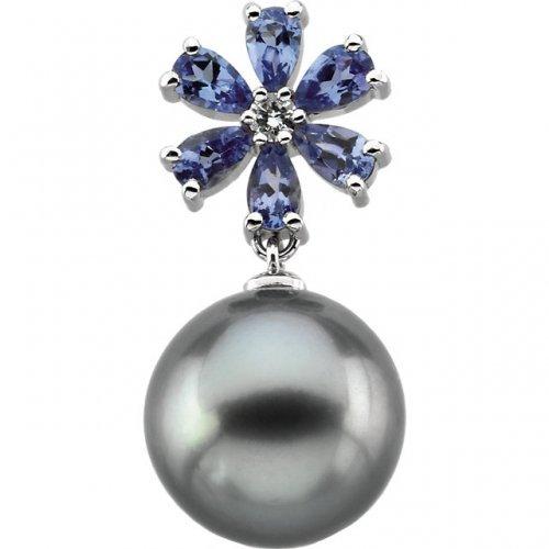 Tanzanite Diamond Tahitian Pearl Pendant