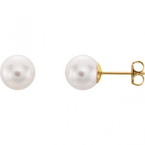 White Cultured Akoya Pearl Stud Earrings Yellow Gold