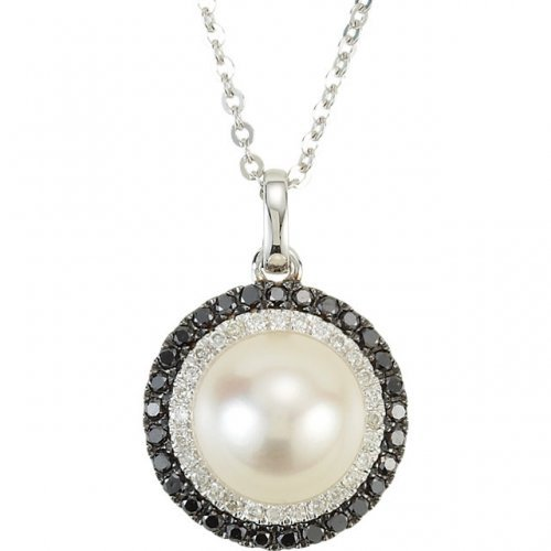 White Freshwater Cultured Pearl Black White Diamond Circle