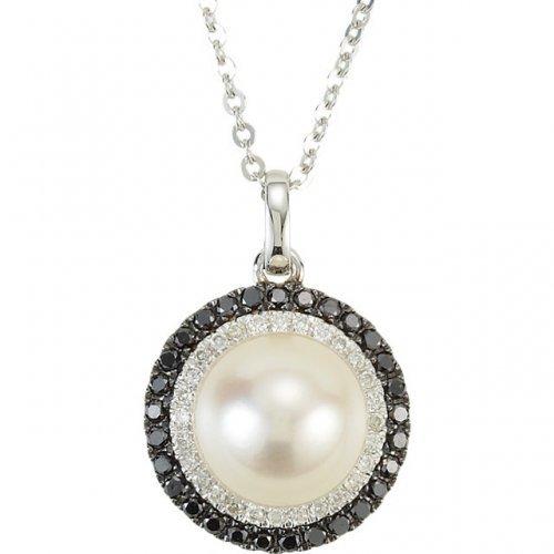 White Freshwater Cultured Pearl Black White Diamond Circle