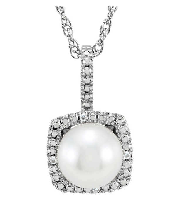 White Freshwater Cultured Pearl Halo Necklace