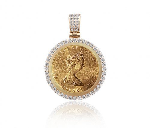 Diamond Circle Frame for Gold Coin Medallion Necklace