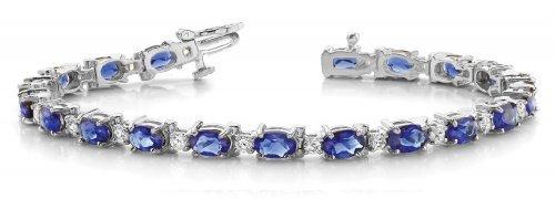 Oval Sapphire Diamond Tennis Bracelet