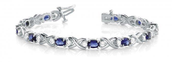 Oval Blue Sapphire Diamond Bracelet