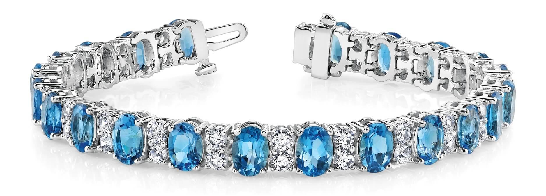 Oval Blue Topaz Diamond Tennis Bracelet