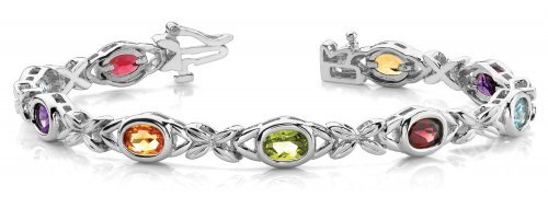 Multicolor Gemstone Tennis Bracelet