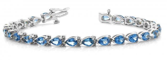 Pear Cut Blue Topaz Tennis Bracelet