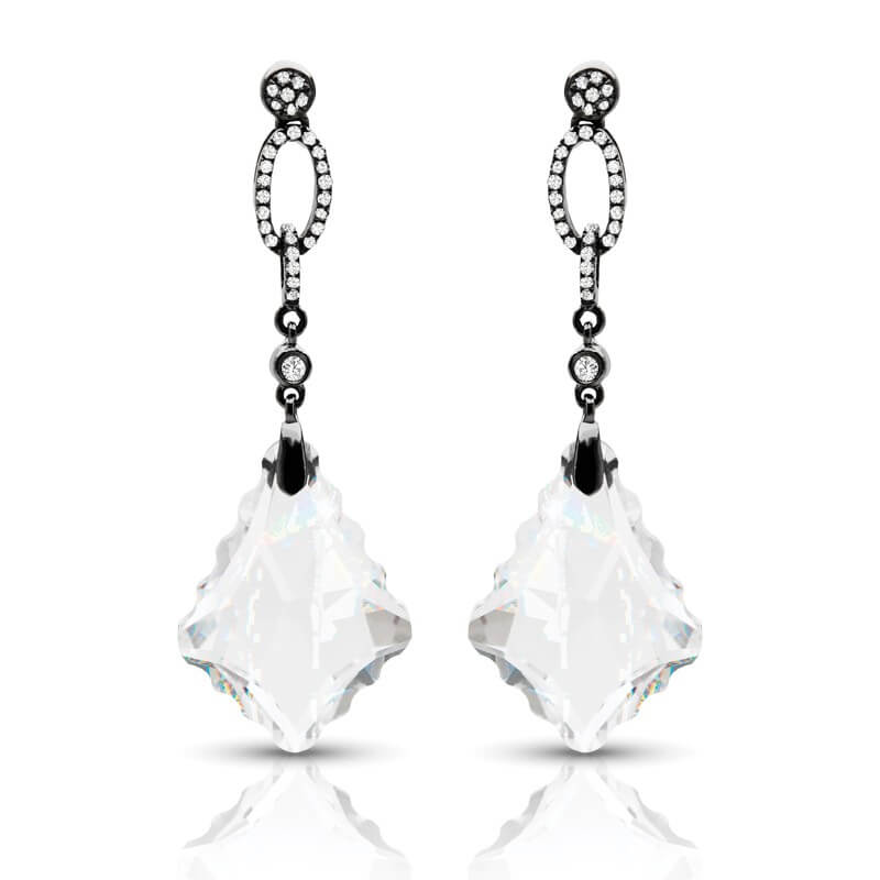 Red Diamond Chandelier Earrings: Buy Designer White Topaz Diamond Chandelier Earrings
