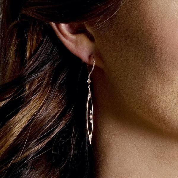 Diamond Onyx Rose Gold Fancy Earrings