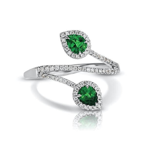 Emerald Diamond Two Stone Bypass Cocktail Ring