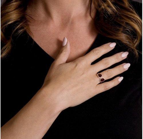 Garnet Diamond Halo Fancy Ring