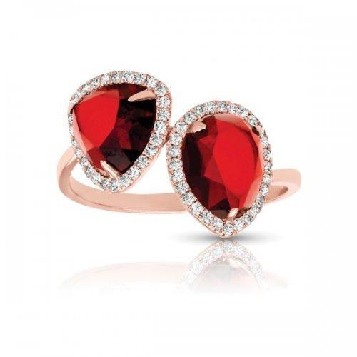 Garnet Diamond Halo Fashion Ring