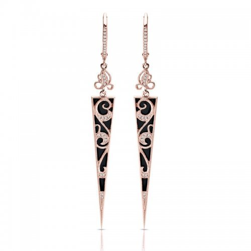 Onyx Diamond Fashion Chandelier Earrings