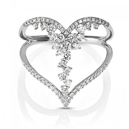 Open Heart Diamond Flower Accents Ring