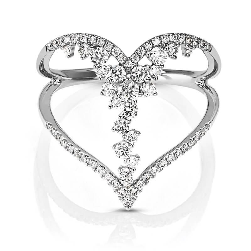 Open Heart Diamond Flower Accents Ring