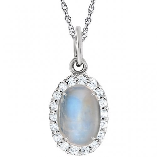 Oval Halo Moonstone Pendant