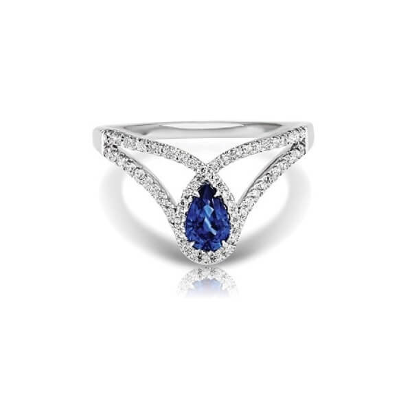 Pear Sapphire Cocktail Ring