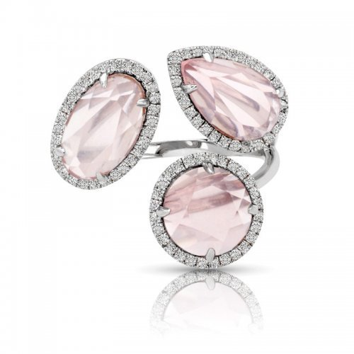 Pink Quartz Diamond Halo Cocktail Ring