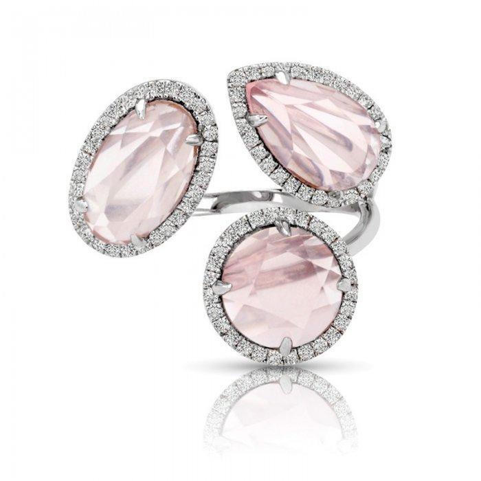Pink Quartz Diamond Halo Cocktail Ring