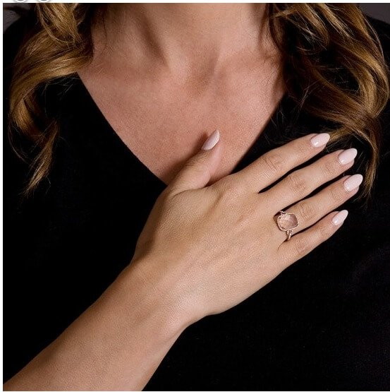 Pink Quartz Diamond Fancy Ring
