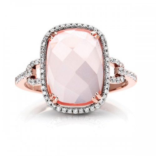 Pink Quartz Diamond Fashion Ring