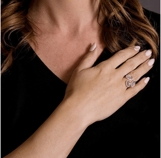 Pink Quartz Fancy Cuts Diamond Ring